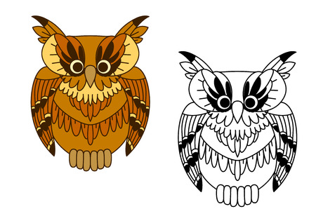 owlet: Little cartoon brown owlet, with colorful and outline owl birds. For Halloween or tattoo themes design Illustration