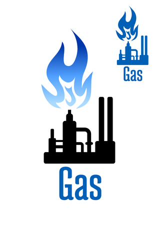 blue flame: Natural gas processing factory icon with spray tower, pipelines and powerful blue flame above. For industrial theme