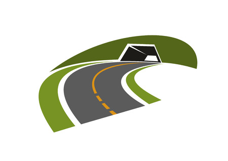 highway: Highway tunnel abstract icon with underpass road through green steep hill, isolated on white background. For transportation design Illustration