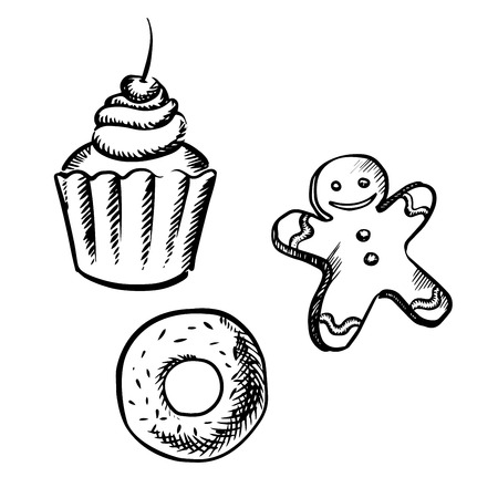 donut shop: Cupcake with whipped cream and cherry fruit, gingerbread man with icing decoration and donut with sprinkles, sketch style Illustration