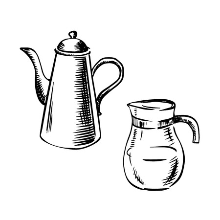 spout: Elegant porcelain coffee pot with long spout and glass jug coffee pot in sketch style. For cafe or restaurant menu design