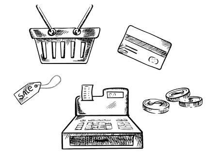 caja registradora: Iconos de las compras de croquis con la cesta de compras, tarjeta de crédito, monedas, venta de etiquetas y caja de dinero