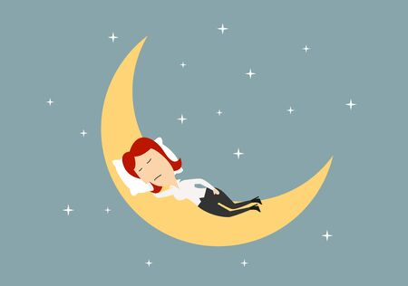cartoon moon: Businesswoman sleeping on crescent of the golden moon in blue sky with stars,  relaxation concept theme. Cartoon flat style
