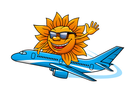 mosca caricatura: Divertido personaje de dibujos animados sol con gafas de sol volar en avi�n, para el dise�o de las vacaciones y el tema de los viajes a�reos