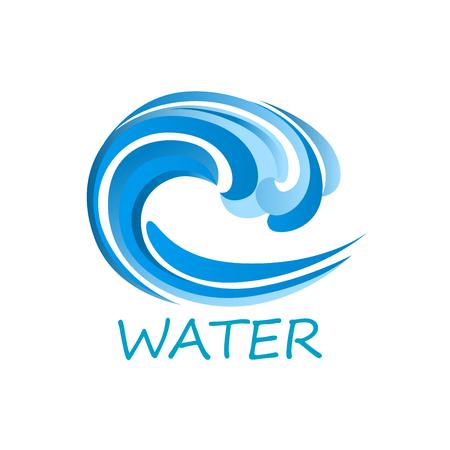 Blue ocean wave abstract pictogram met sier water werveling, geïsoleerd op een witte achtergrond met titel Water