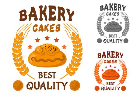 both sides: Bakery cakes icon of bun with poppy seeds, surrounded by stars, wheat ears and header Best quality with cookies on both sides Illustration