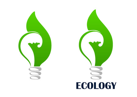green environment: Green energy light bulb abstract icon with lamp wrapped by leaves, isolated on white background with caption Ecology