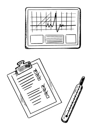glass thermometer: Heart cardiogram graph, clipboard with medical history form and glass thermometer isolated on white background, sketch style Illustration