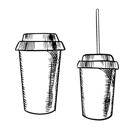 cold background: Takeaway cups for coffee and soda drinks with lids and drinking straw for fast food theme, sketch style Illustration