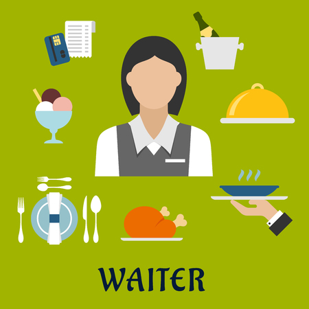 restaurant bill: Waiter profession flat icons with waitress in elegant uniform, surrounded by dinner set, champagne and ice bucket, ice cream sundae, fried chicken, cloche and restaurant bill Illustration