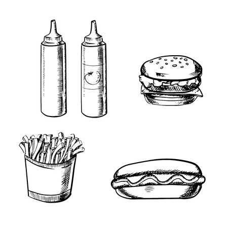 sketch sketches: Fast food sketch with french fries in box, cheeseburger, hot dog, ketchup and mustard bottles isolated on white background