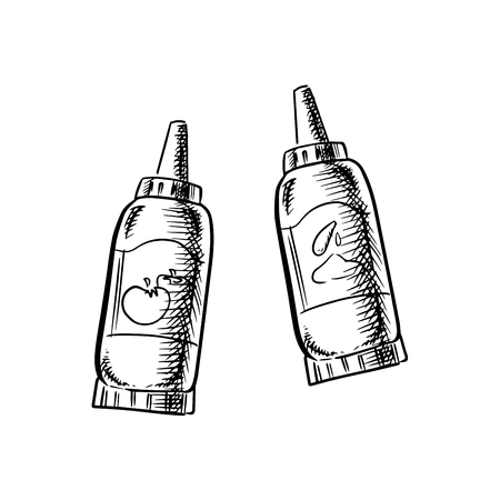 Ketchup and mustard squeeze dispenser bottles sketch icons with long nozzle caps. Isolated on white background