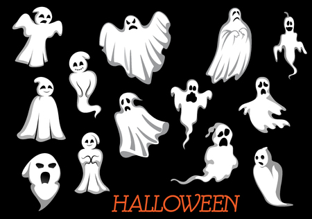 fear cartoon: White flying Halloween monsters and ghosts isolated on background, for party invitation design