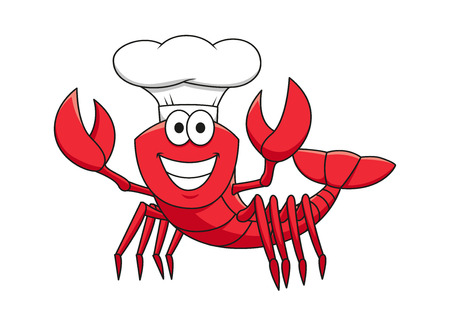 cook cartoon: Cheerful smiling red lobster chef cartoon character in white cook hat with raised pincers for seafood restaurant mascot design