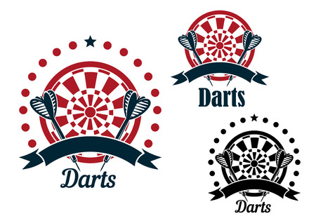 Darts game icons of arrows with striped fletching and dartboards, decorated by stars, dots and ribbon banners