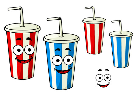 fizzy: Takeaway red and blue soda striped cups cartoon characters with drinking straws and charming smiles, for fast food theme design