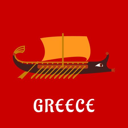historical: Ancient greek galley or trireme flat ship. Wooden rowing warship with a lot of oars, ornamental bow and orange sail over red background with caption Greece