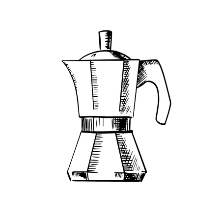 sign maker: Coffee maker sketch icon with italian pot for produce espresso coffee, isolated on white background Illustration