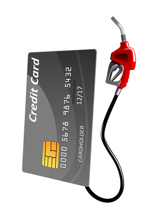 Gray credit card with gas pump nozzle, isolated on white background. For financial or oil concept themes