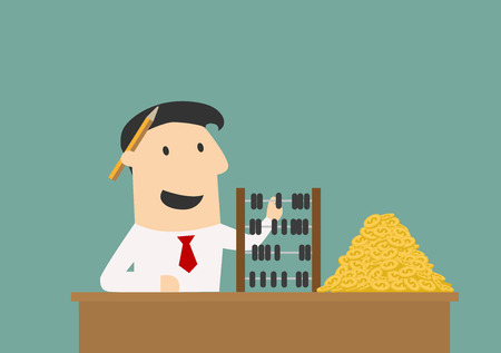 Rich businessman counting with wooden abacus a big pile of golden coins, for wealth concept design. Cartoon flat style
