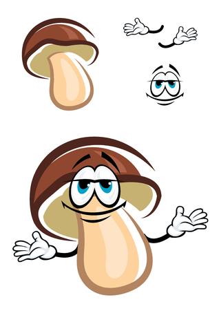 Joyful forest pine bolete mushroom cartoon character with dark brown broad cap and white stipe design Illustration