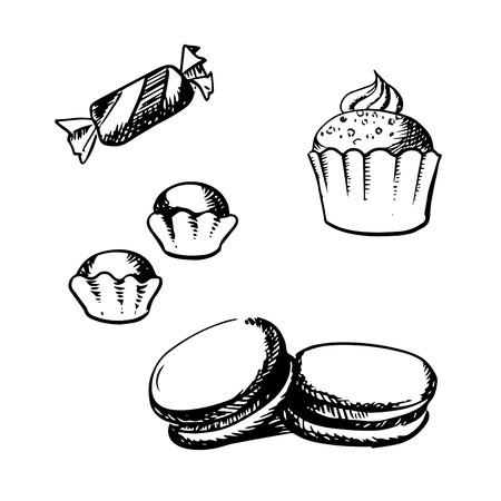 sugar cookies: Sweet cupcake with whipped cream, macaron with vanilla cream, chocolate truffles and candy isolated on white background in sketch style