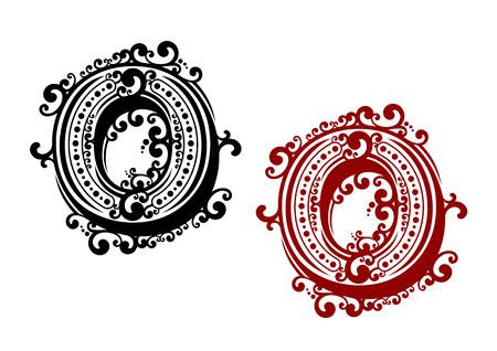 letras negras: El rojo y el negro letra mayúscula O, adornada con elementos de ornamentación rizadas y los puntos redondos en estilo retro. Para el diseño de la caligrafía de grabado