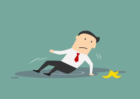 platano caricatura: El hombre de negocios se resbaló en una cáscara de plátano y se cayó en un charco, por fallar o diseño conceptual error. Estilo plano de dibujos animados Vectores