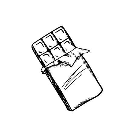 Doux barre de chocolat au lait avec emballage ouvert, isolé sur fond blanc. le style Sketch Banque d'images - 45598069
