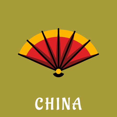 open fan: Traditional chinese open folding fan with bright orange and red paper on wooden slats, on background with caption China below, flat style