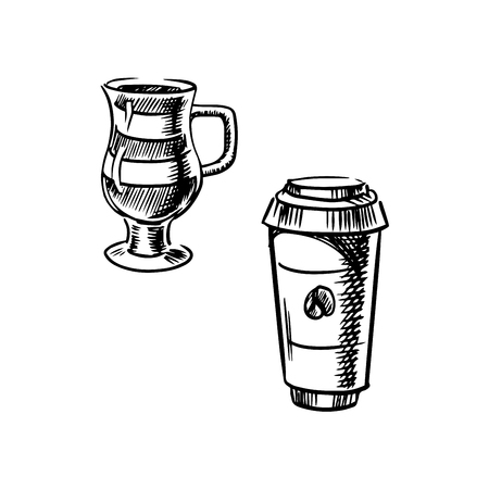 take out food container: Takeaway coffee paper cup with lid and glass cup of mocha coffee, sketch style