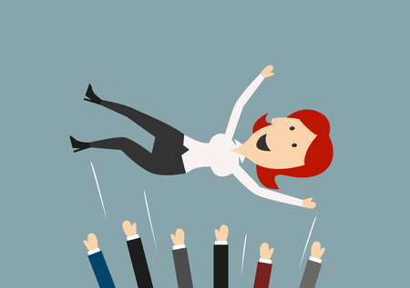 Happy businesswoman being throwing in the air by colleagues or business team during celebration, for success concept design. Cartoon flat style