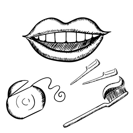 plastic box: Healthy happy smile, toothbrush with toothpaste, dental floss in plastic box and floss wands, for dentistry concept design, sketch icons Illustration
