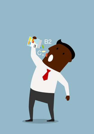 lifestyle disease: African american businessman taking colorful vitamins from a bottle, for disease prevention or healthy lifestyle concept design. Cartoon flat style