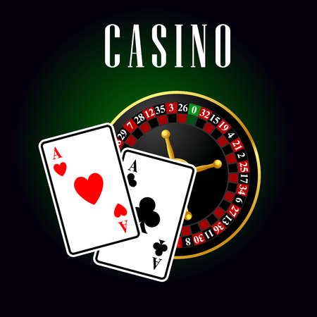 casino wheel: Casino symbol with ace cards over roulette on green with black background. For casino and gambling theme