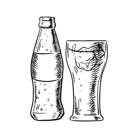 Bouteille en verre de soda avec des bulles et du verre rempli avec des glaçons isolés sur fond blanc. Image croquis