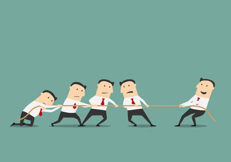 Successful and powerful businessman competing with group of businessmen in a tug of war battle, for leadership or business competition concept design. Cartoon flat style