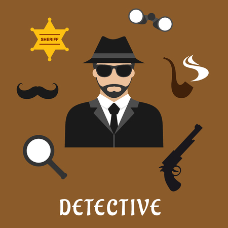 detective: Detective profession flat icons with bearded man in black hat and sunglasses, encircled by binoculars, pipe, magnifier, gun, sheriff star badge and fake moustache