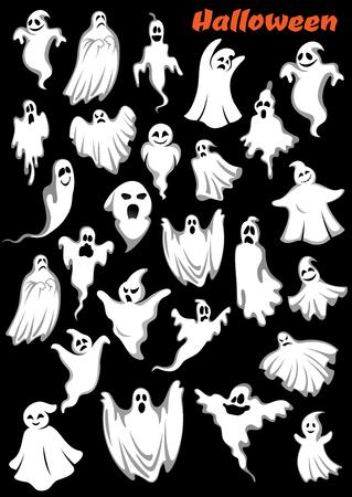 Blancas volando monstruos, vampiros y fantasmas. Aislado en el fondo. para el tema de fiesta de Halloween