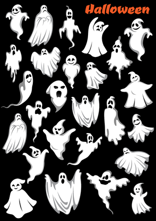 fear cartoon: White flying monsters, ghouls and ghosts. Isolated on background. for Halloween holiday theme Illustration