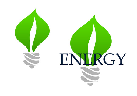 lamps: Energy saving light bulb abstract icon with green leaves in lamp base, isolated on white background with text Energy