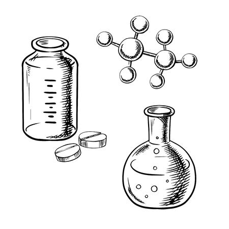 molecular model: Laboratory flask with liquid and bubbles, bottle with pills and chemical molecular model isolated on white background. For pharmaceutical or medical research themes, sketch style