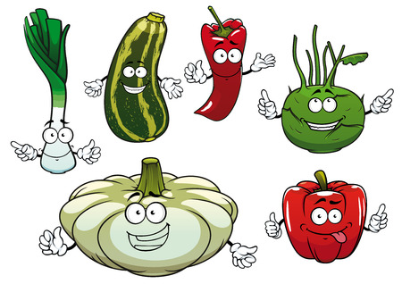 zucchini: Healthy cartoon red bell and chilli peppers, green striped zucchini, onion, kohlrabi and white pattypan squash vegetable characters. For fresh vegetarian food or agriculture themes Illustration