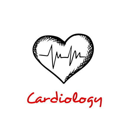 cardiograph: Cardiology concept with sketches of heart and heartbeat cardiogram graph isolated on white background with caption Cardiology