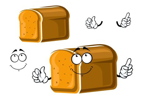 whole grain: Cartoon whole grain bread character isolated on white, for healthy food or bakery shop themes Illustration