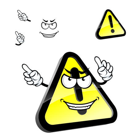 yellow attention: Hazard warning attention sign cartoon character with exclamation mark on yellow triangle with black border, showing finger away. For caution or danger sign design Illustration