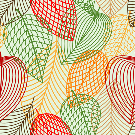 autumnal: Outline autumnal leaves seamless pattern with red, green, orange and brown leaves for nature or wallpaper themes