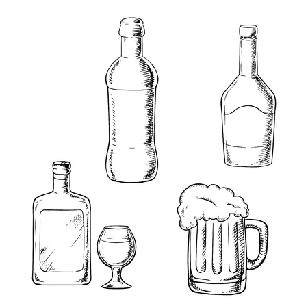 tankard: Alcoholic beverages  with bottle of wine, liquor, whiskey, glass and tankard of beer isolated on white background. Sketch image Illustration