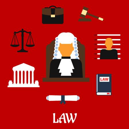 裁判所はマントルとウィッグ、法律書、小槌、囚人の写真に囲まれた裁判官の人と裁判官の職業フラット アイコン建物、体重計、巻物、キャプショ