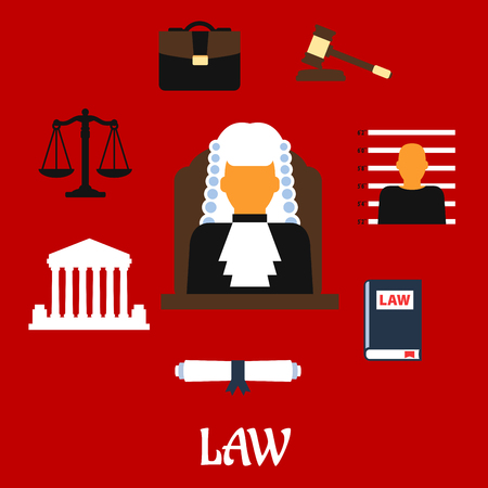judge hammer: Judge profession flat icons with judge man in mantle and wig, encircled by law book, gavel, prisoner photo, court building, scales, paper scroll and briefcase with caption Law